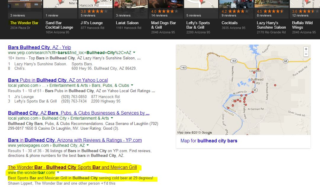 Bullhead City Bars Search Engine Screenshot