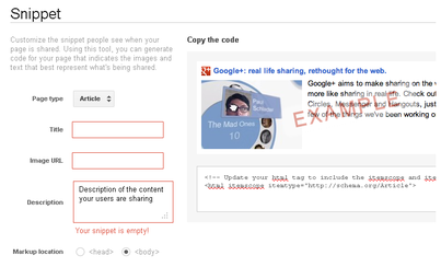 Google+ Rich Snippet Tool